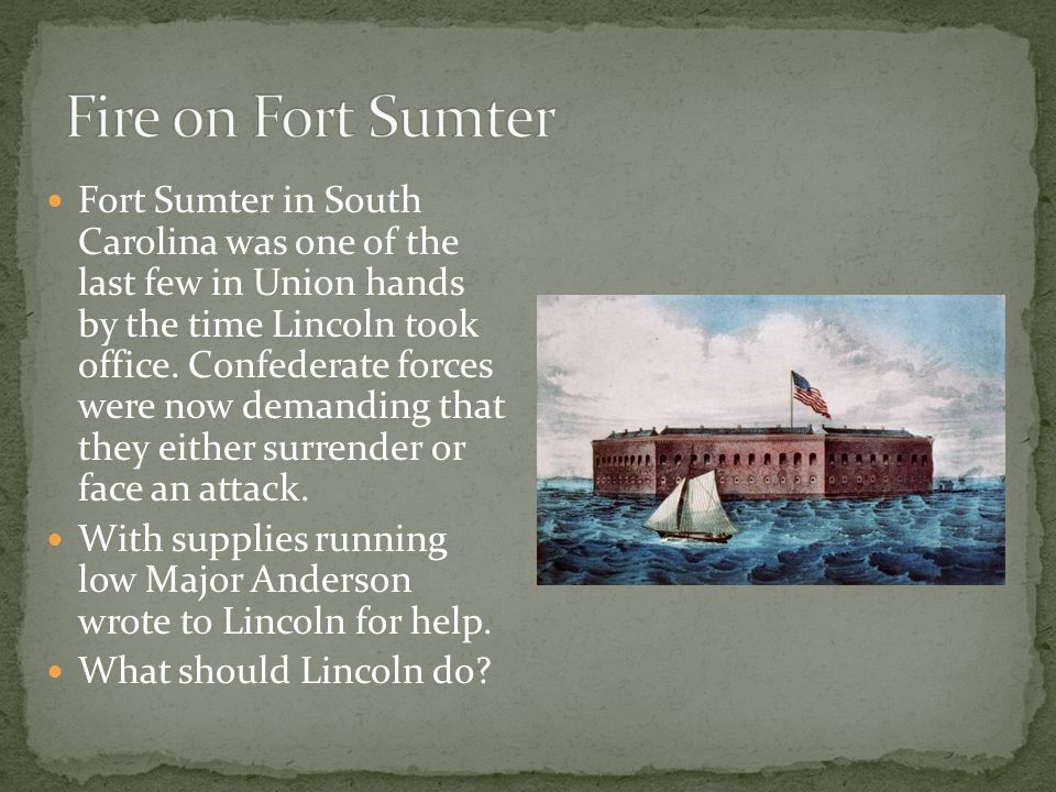 Fort Sumter in South Carolina was one of the last few in Union hands by the time Lincoln took office.