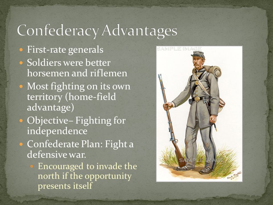 First-rate generals Soldiers were better horsemen and riflemen Most fighting on its own territory (home-field advantage) Objective– Fighting for independence Confederate Plan: Fight a defensive war.