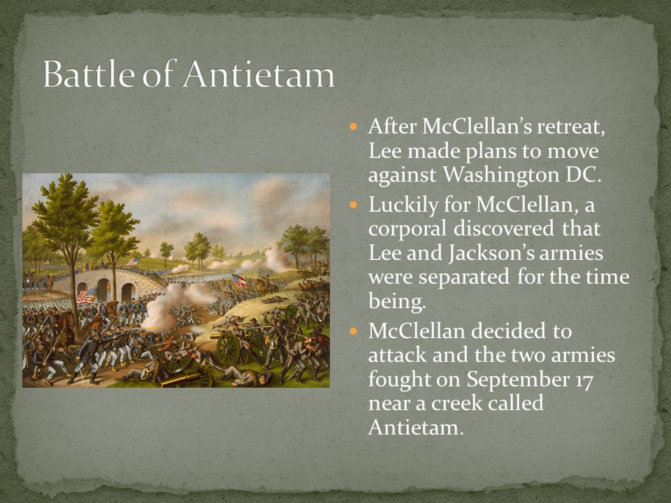 After McClellan's retreat, Lee made plans to move against Washington DC.