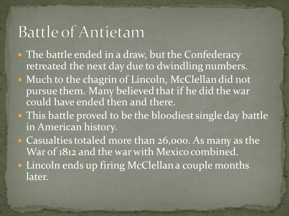 The battle ended in a draw, but the Confederacy retreated the next day due to dwindling numbers.