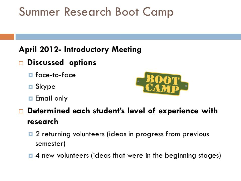 Summer Research Boot Camp April 2012- Introductory Meeting  Discussed options  face-to-face  Skype  Email only  Determined each student's level of experience with research  2 returning volunteers (ideas in progress from previous semester)  4 new volunteers (ideas that were in the beginning stages)