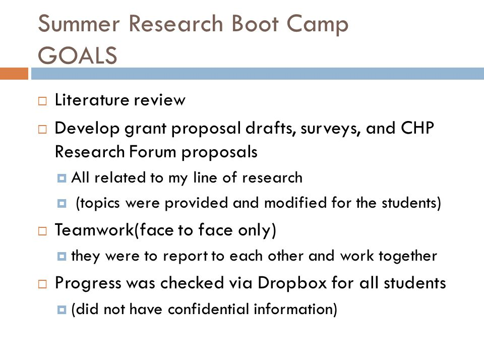 Summer Research Boot Camp GOALS  Literature review  Develop grant proposal drafts, surveys, and CHP Research Forum proposals  All related to my line of research  (topics were provided and modified for the students)  Teamwork(face to face only)  they were to report to each other and work together  Progress was checked via Dropbox for all students  (did not have confidential information)