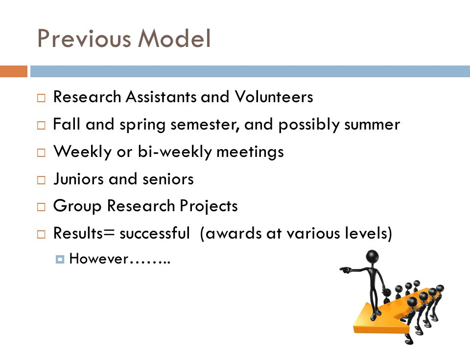 Previous Model  Research Assistants and Volunteers  Fall and spring semester, and possibly summer  Weekly or bi-weekly meetings  Juniors and seniors  Group Research Projects  Results= successful (awards at various levels)  However……..