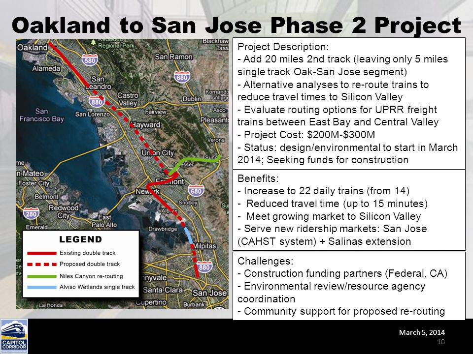 Oakland to San Jose Phase 2 Project Project Description: - Add 20 miles 2nd track (leaving only 5 miles single track Oak-San Jose segment) - Alternati