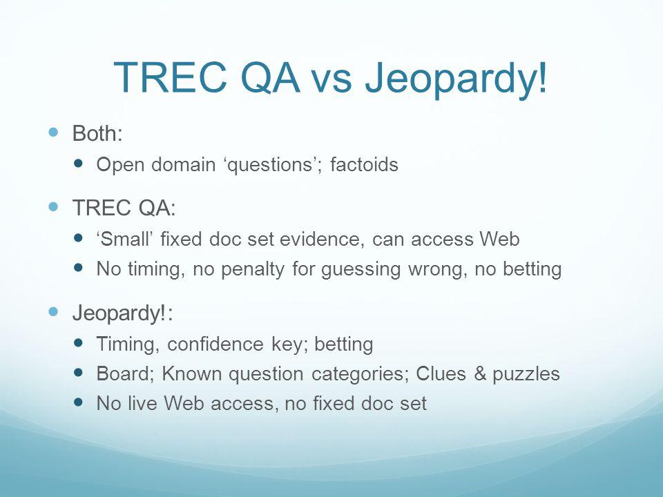 TREC QA Systems for Jeopardy! TREC QA somewhat similar to Jeopardy!