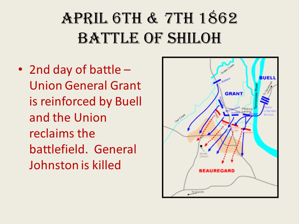 April 6th & 7th 1862 Battle of Shiloh 2nd day of battle – Union General Grant is reinforced by Buell and the Union reclaims the battlefield.