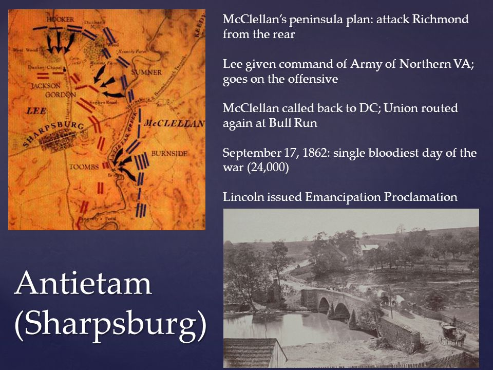Antietam (Sharpsburg) McClellan's peninsula plan: attack Richmond from the rear Lee given command of Army of Northern VA; goes on the offensive McClel