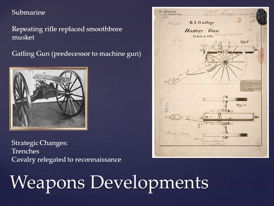 Weapons Developments Submarine Repeating rifle replaced smoothbore musket Gatling Gun (predecessor to machine gun) Strategic Changes: Trenches Cavalry