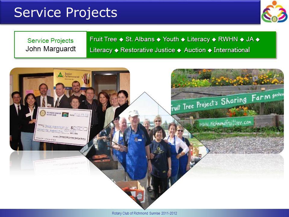 Rotary Club of Richmond Sunrise 2011-2012 Service Projects John Marguardt Service Projects John Marguardt Fruit Tree  St. Albans  Youth  Literacy 