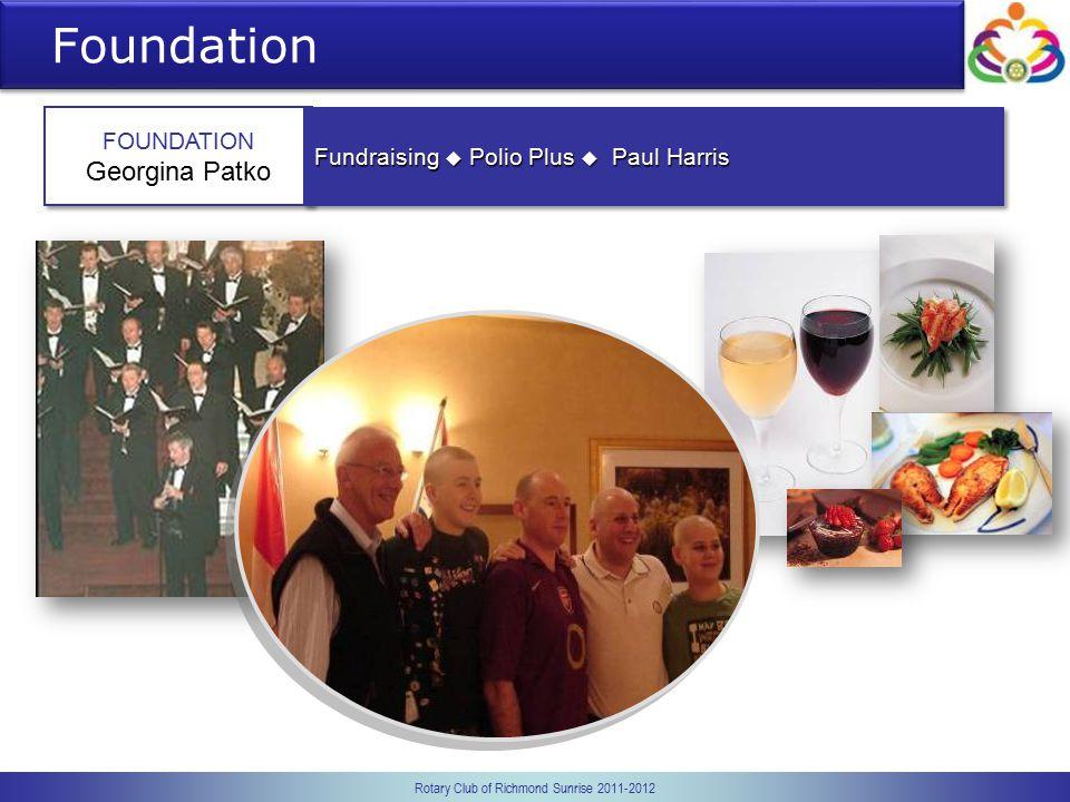 Rotary Club of Richmond Sunrise 2011-2012 Foundation FOUNDATION Georgina Patko FOUNDATION Georgina Patko Fundraising  Polio Plus  Paul Harris