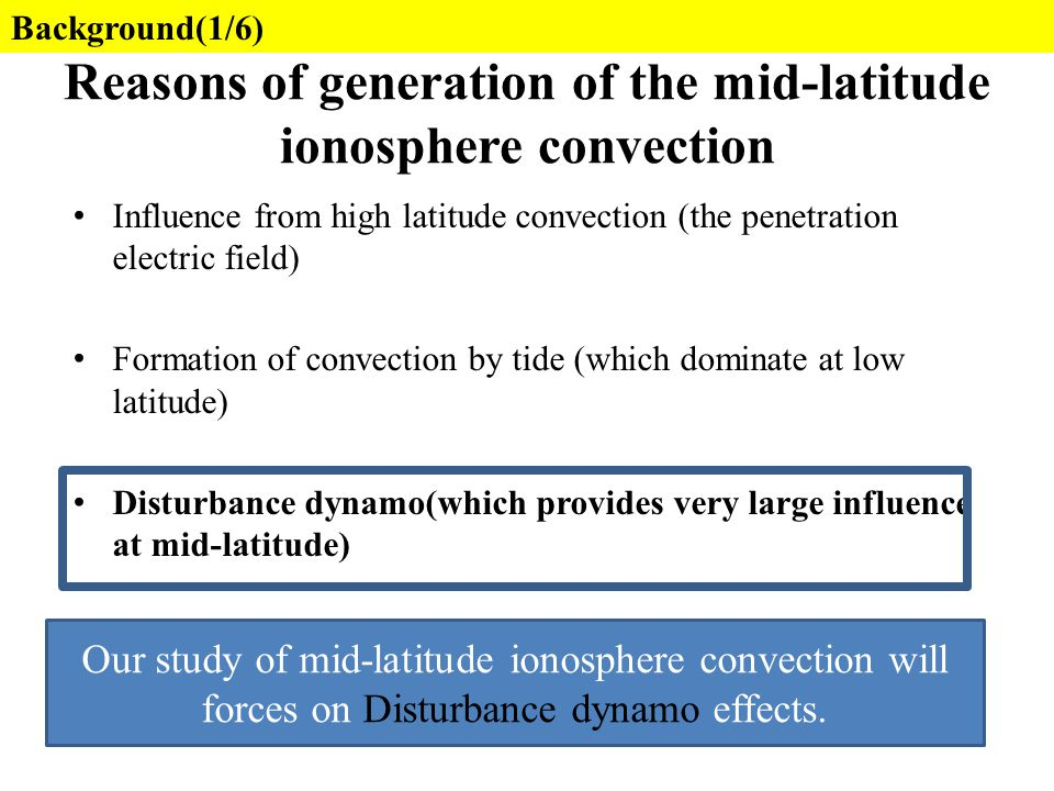 Reasons of generation of the mid-latitude ionosphere convection Influence from high latitude convection (the penetration electric field) Formation of
