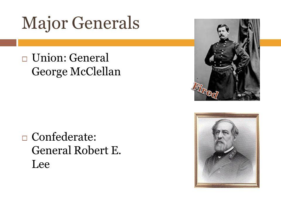Major Generals  Union: General George McClellan  Confederate: General Robert E. Lee