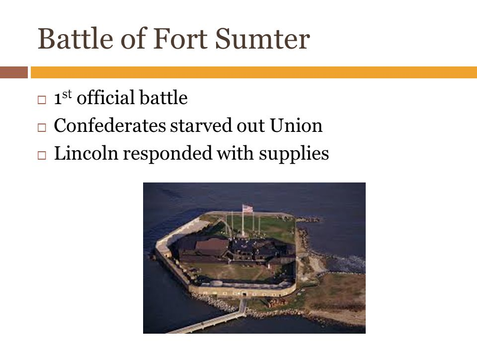 Battle of Fort Sumter  1 st official battle  Confederates starved out Union  Lincoln responded with supplies