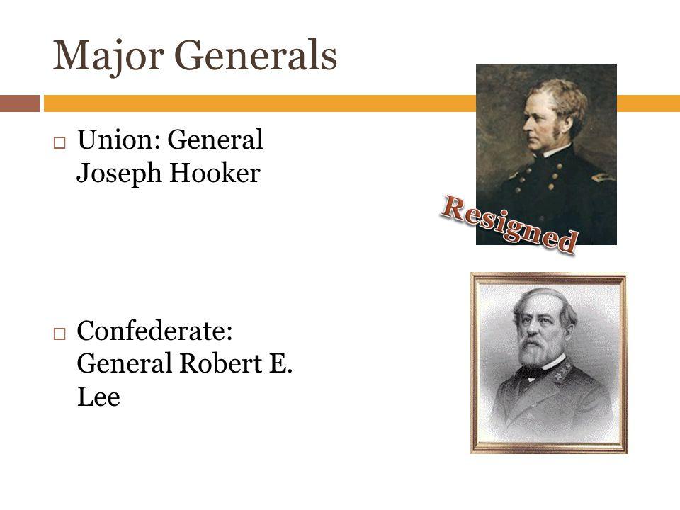 Major Generals  Union: General Joseph Hooker  Confederate: General Robert E. Lee