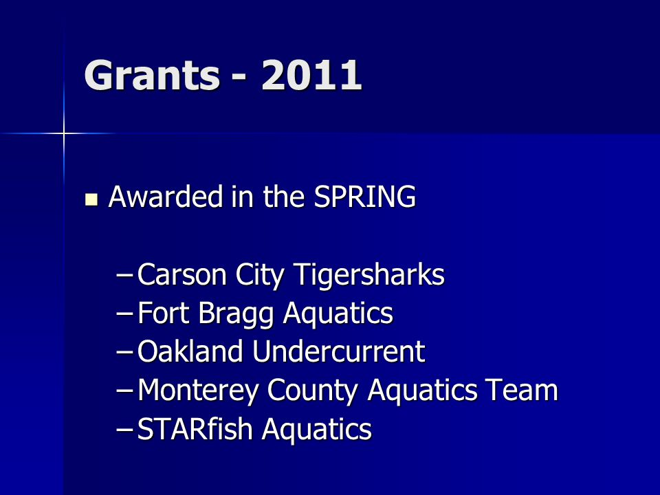 Grants - 2011 Awarded in the SPRING Awarded in the SPRING –Carson City Tigersharks –Fort Bragg Aquatics –Oakland Undercurrent –Monterey County Aquatic