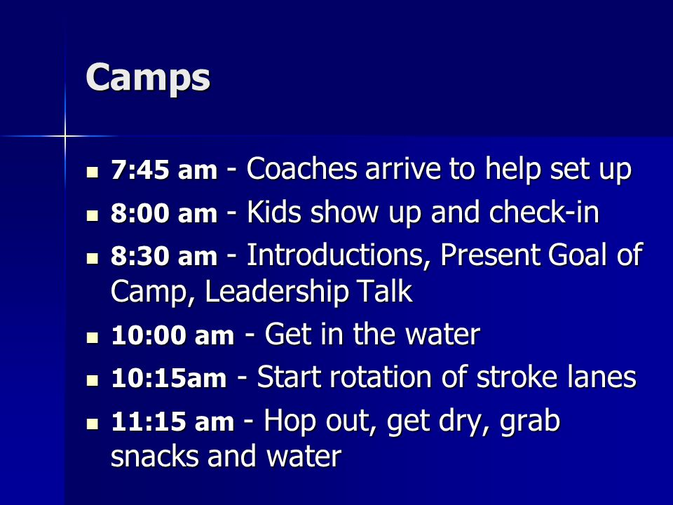 Camps 7:45 am - Coaches arrive to help set up 7:45 am - Coaches arrive to help set up 8:00 am - Kids show up and check-in 8:00 am - Kids show up and c