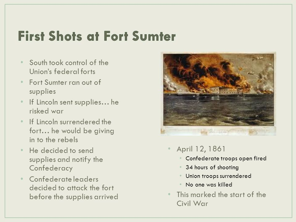 South took control of the Union's federal forts Fort Sumter ran out of supplies If Lincoln sent supplies… he risked war If Lincoln surrendered the for