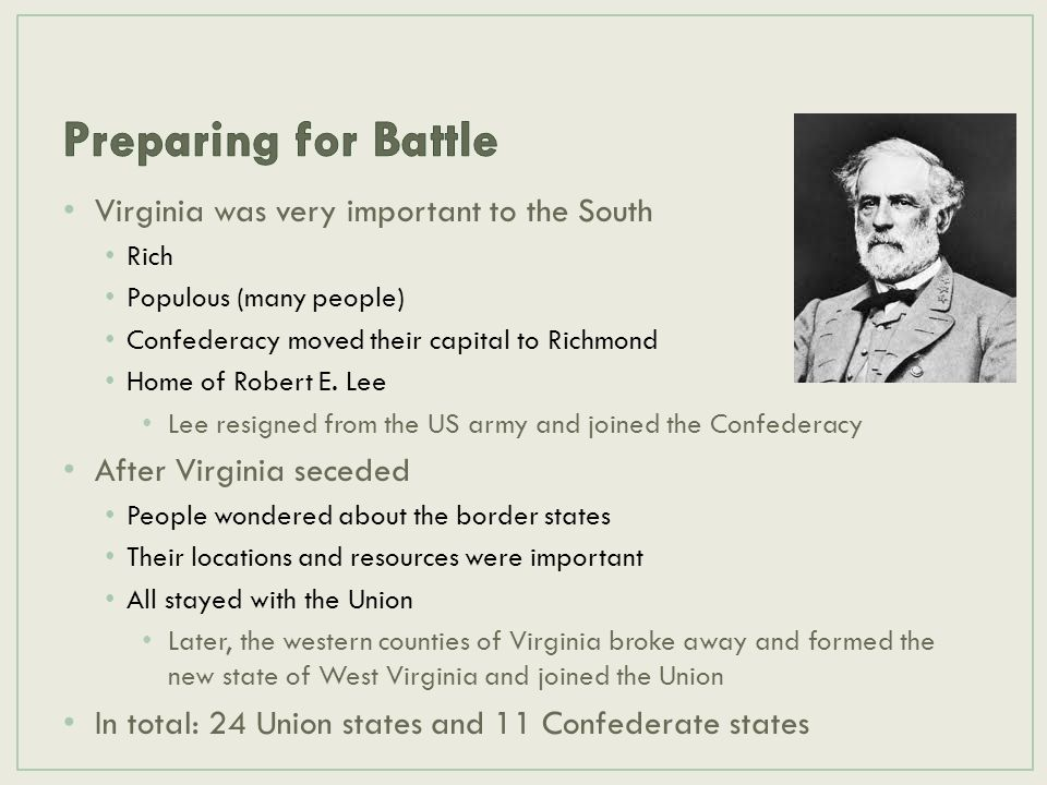 Virginia was very important to the South Rich Populous (many people) Confederacy moved their capital to Richmond Home of Robert E. Lee Lee resigned fr