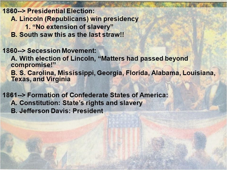 1860--> Presidential Election: A. Lincoln (Republicans) win presidency 1.
