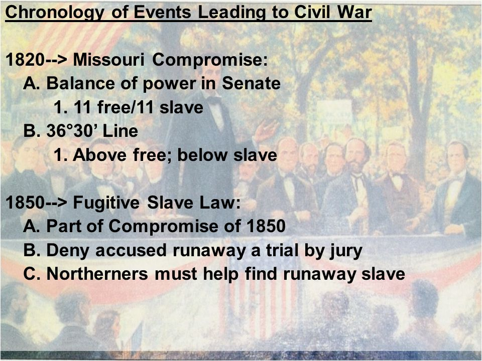 Chronology of Events Leading to Civil War 1820--> Missouri Compromise: A.