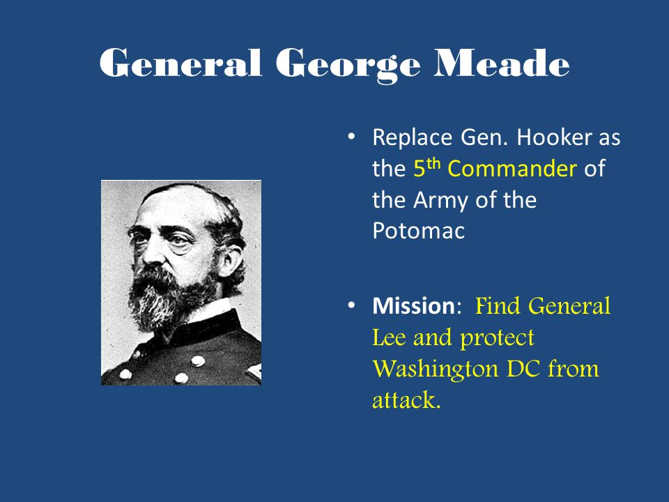 General George Meade Replace Gen.
