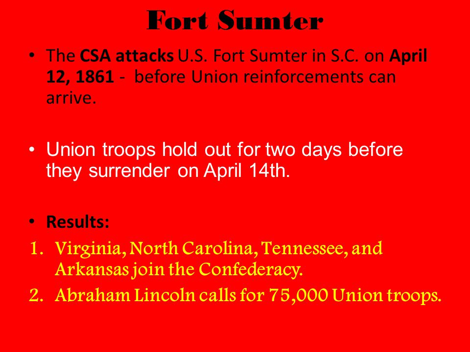 Fort Sumter The CSA attacks U.S. Fort Sumter in S.C.