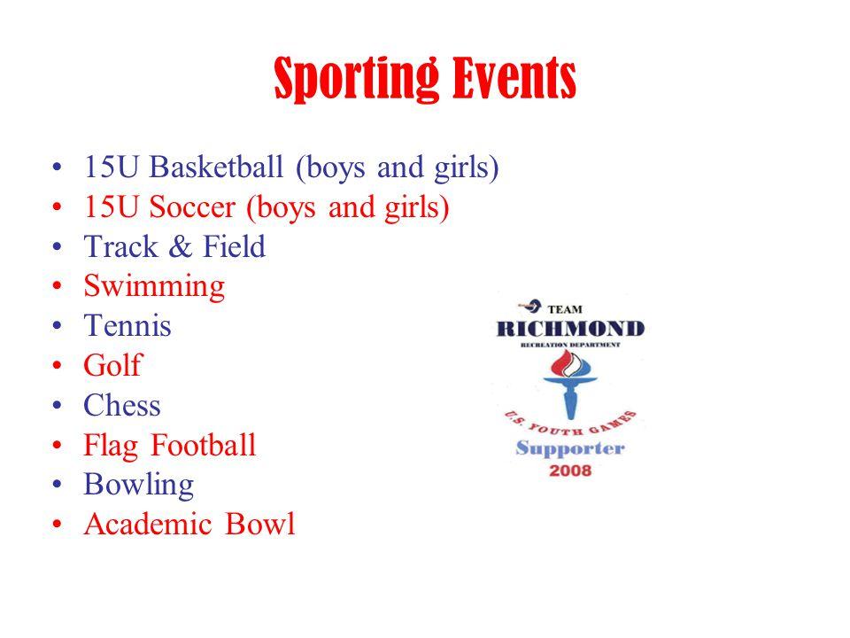Sporting Events 15U Basketball (boys and girls) 15U Soccer (boys and girls) Track & Field Swimming Tennis Golf Chess Flag Football Bowling Academic Bo