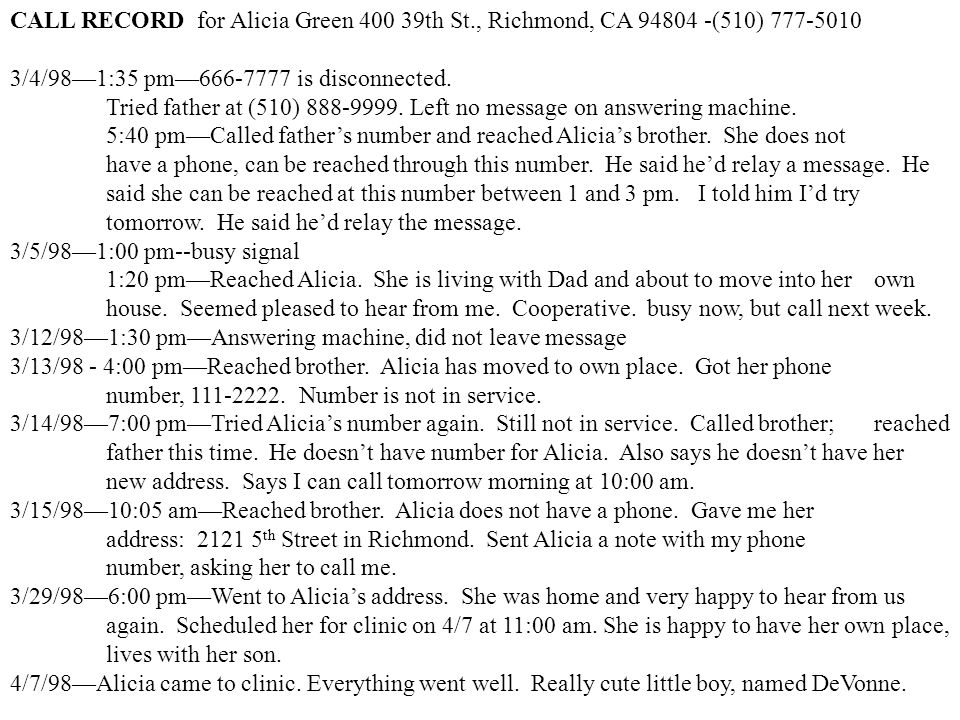 CALL RECORD for Alicia Green 400 39th St., Richmond, CA 94804 -(510) 777-5010 3/4/98—1:35 pm—666-7777 is disconnected.