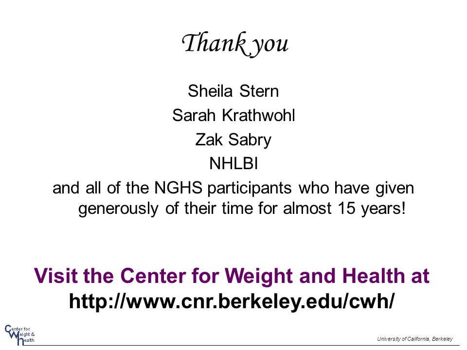 Thank you Sheila Stern Sarah Krathwohl Zak Sabry NHLBI and all of the NGHS participants who have given generously of their time for almost 15 years! U