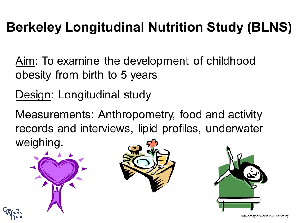 Berkeley Longitudinal Nutrition Study (BLNS) Aim: To examine the development of childhood obesity from birth to 5 years Design: Longitudinal study Measurements: Anthropometry, food and activity records and interviews, lipid profiles, underwater weighing.
