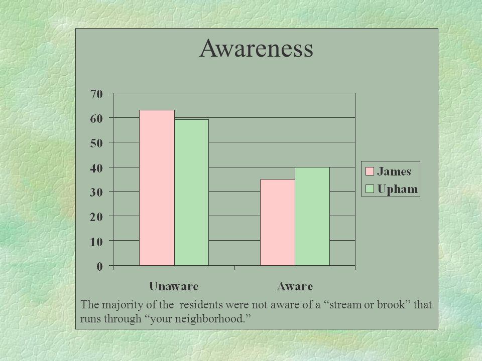 "Awareness The majority of the residents were not aware of a ""stream or brook"" that runs through ""your neighborhood."""
