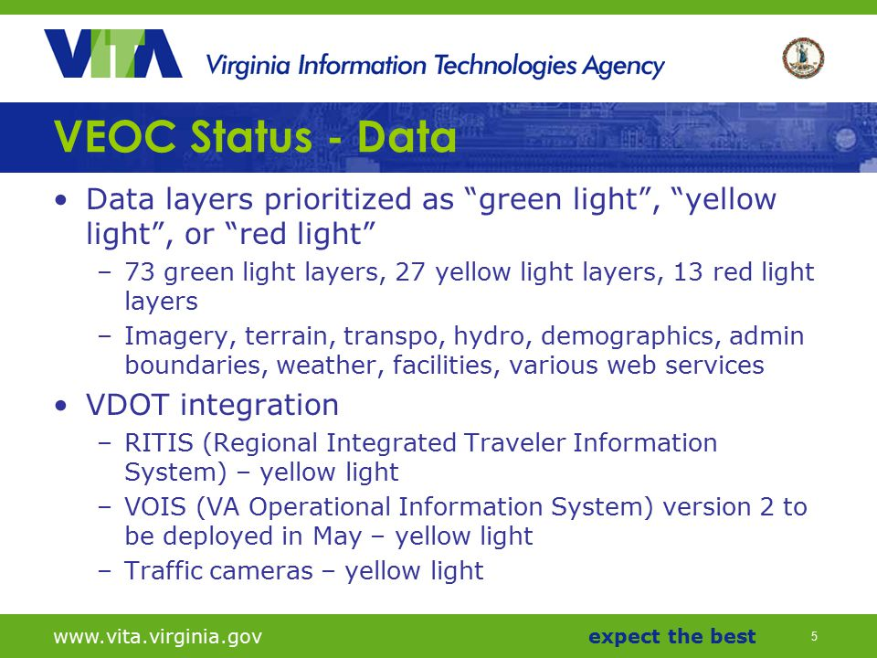 "5 www.vita.virginia.govexpect the best VEOC Status - Data Data layers prioritized as ""green light"", ""yellow light"", or ""red light"" –73 green light lay"