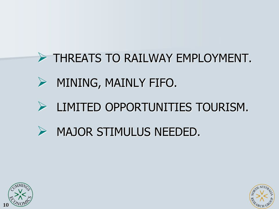 10  THREATS TO RAILWAY EMPLOYMENT.  MINING, MAINLY FIFO.