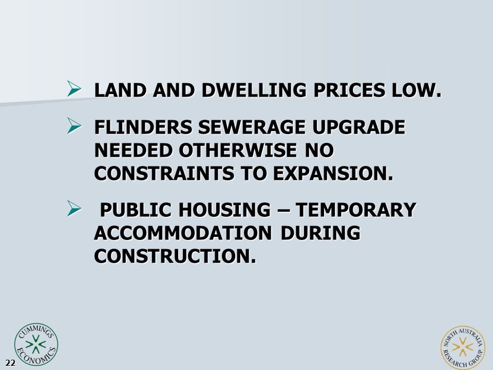22  LAND AND DWELLING PRICES LOW.