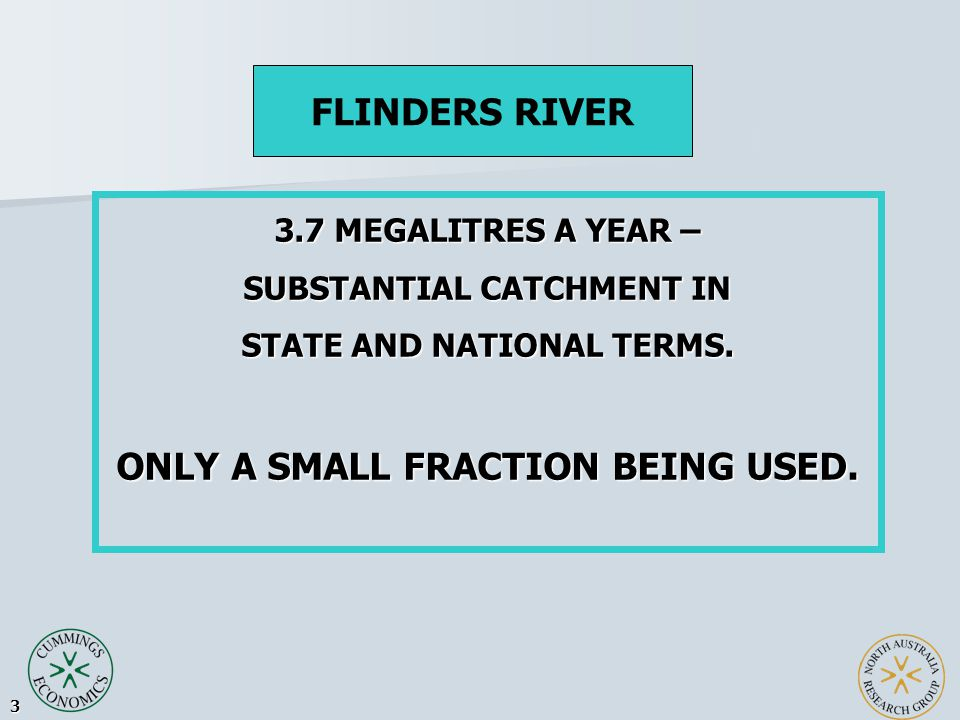 3 3.7 MEGALITRES A YEAR – SUBSTANTIAL CATCHMENT IN STATE AND NATIONAL TERMS.