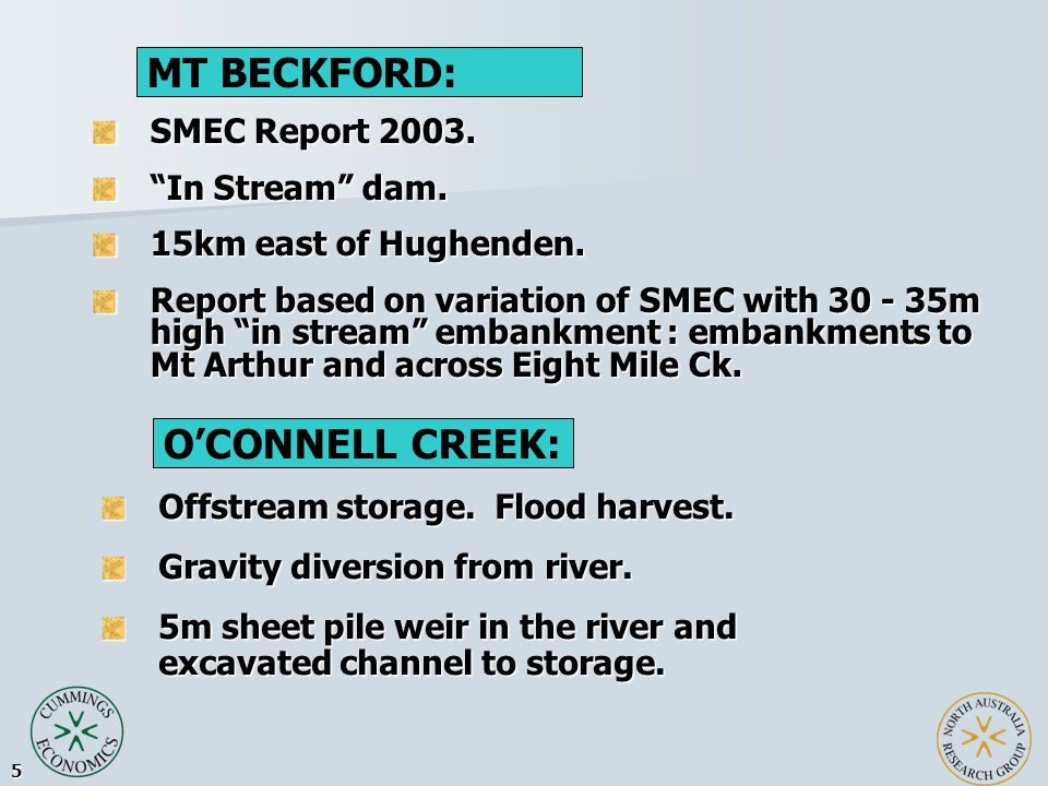 5 SMEC Report 2003. In Stream dam. 15km east of Hughenden.