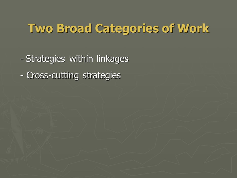Two Broad Categories of Work - Strategies within linkages - Cross-cutting strategies