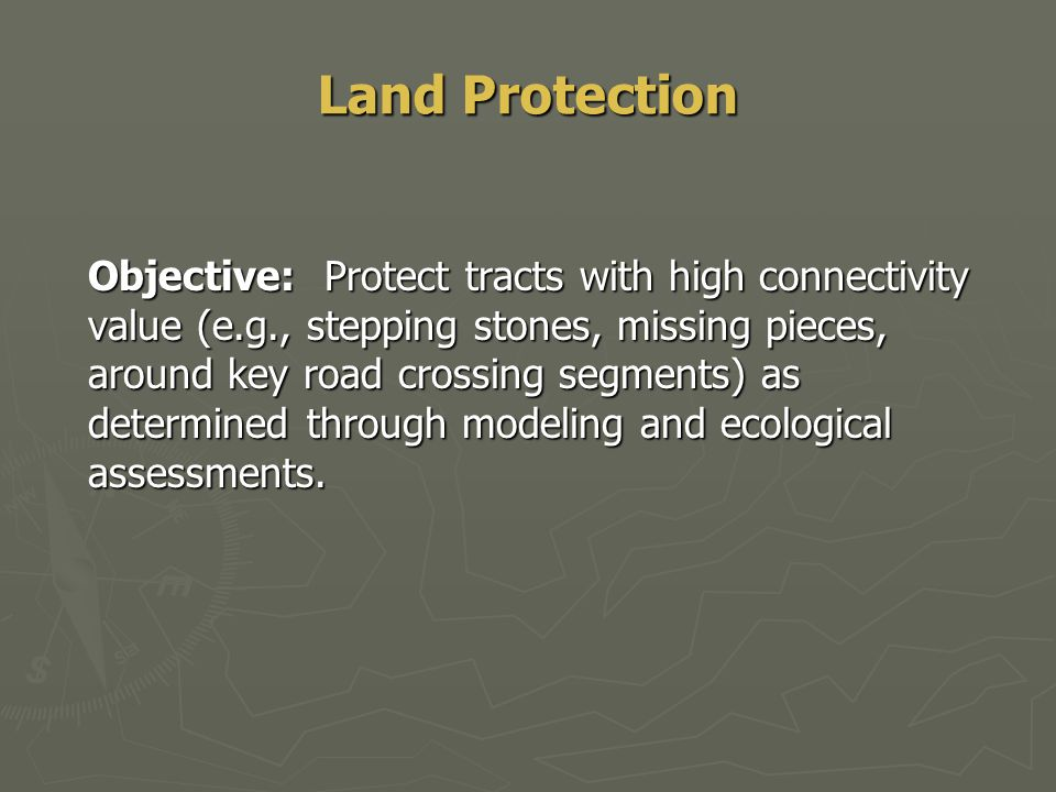 Land Protection Objective: Protect tracts with high connectivity value (e.g., stepping stones, missing pieces, around key road crossing segments) as determined through modeling and ecological assessments.