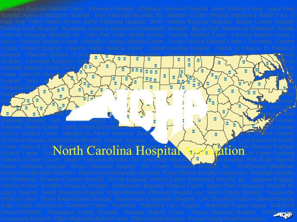Alamance Regional Medical Center Albemarle Hospital Alleghany Memorial Hospital Angel Medical Center Annie Penn Hospital Anson Community Hospital Ashe Memorial Hospital, Inc.