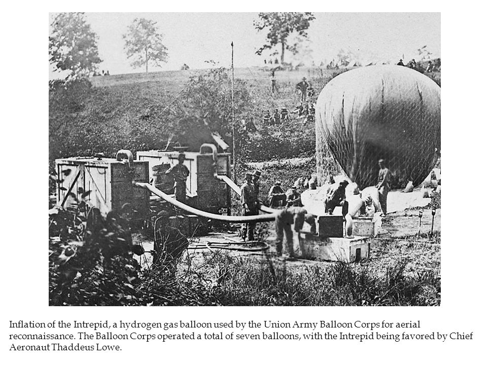 Inflation of the Intrepid, a hydrogen gas balloon used by the Union Army Balloon Corps for aerial reconnaissance.
