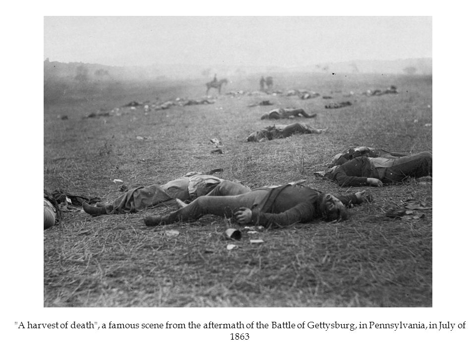 A harvest of death , a famous scene from the aftermath of the Battle of Gettysburg, in Pennsylvania, in July of 1863