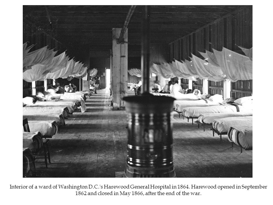 Interior of a ward of Washington D.C. s Harewood General Hospital in 1864.