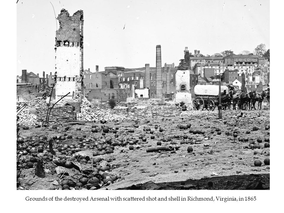 Grounds of the destroyed Arsenal with scattered shot and shell in Richmond, Virginia, in 1865