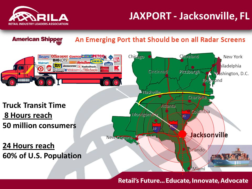 Truck Transit Time 8 Hours reach 50 million consumers 24 Hours reach 60% of U.S.