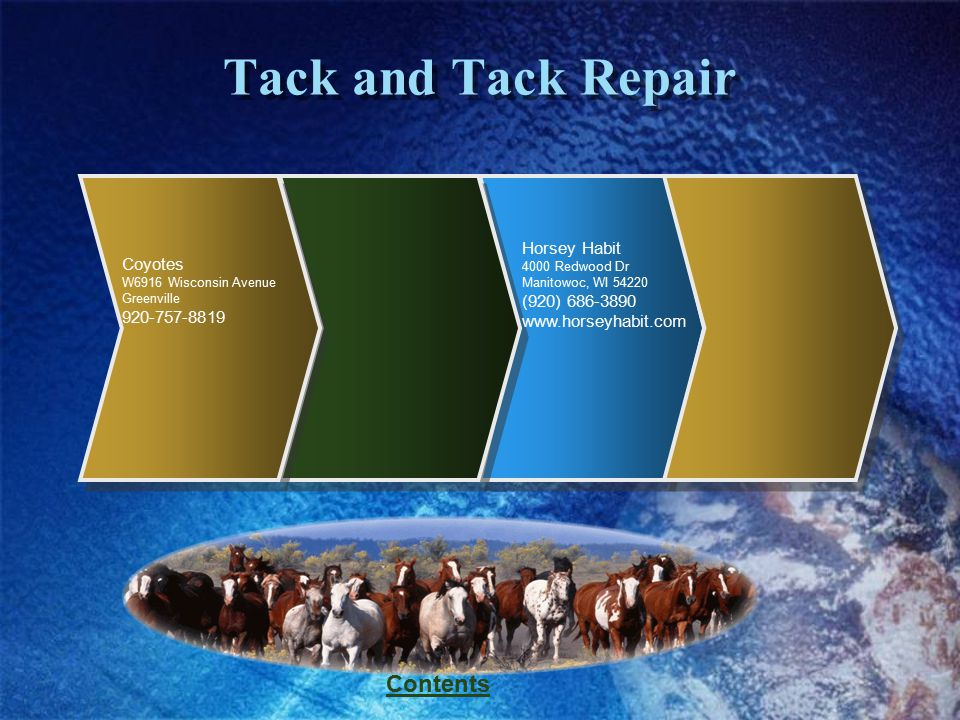 Contents Tack and Tack Repair Coyotes W6916 Wisconsin Avenue Greenville 920-757-8819 Horsey Habit 4000 Redwood Dr Manitowoc, WI 54220 (920) 686-3890 w