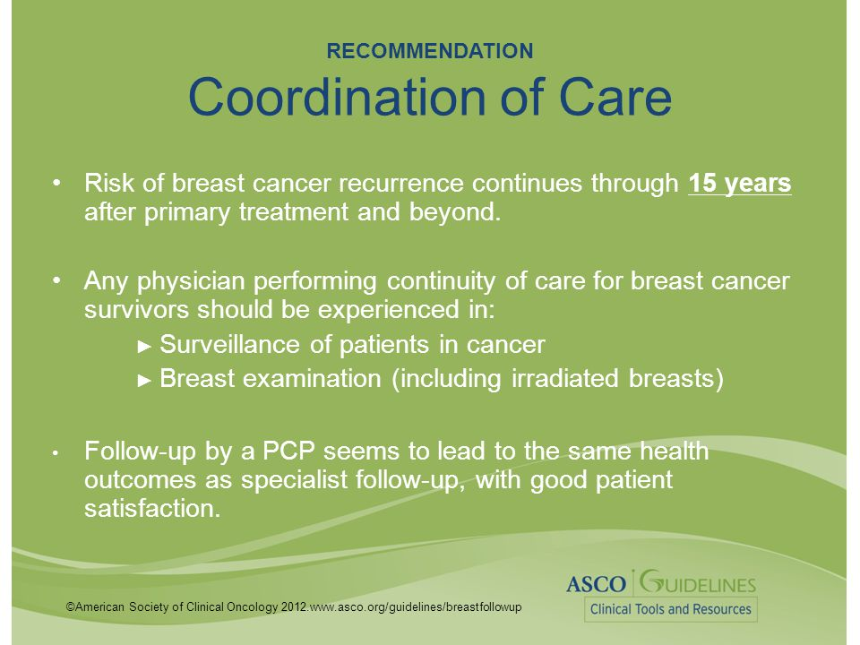 ©American Society of Clinical Oncology 2012.www.asco.org/guidelines/breastfollowup RECOMMENDATION Coordination of Care Risk of breast cancer recurrenc