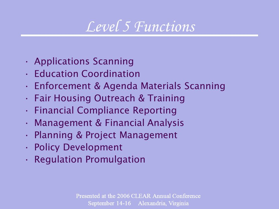 Presented at the 2006 CLEAR Annual Conference September 14-16 Alexandria, Virginia Level 5 Functions Applications Scanning Education Coordination Enfo