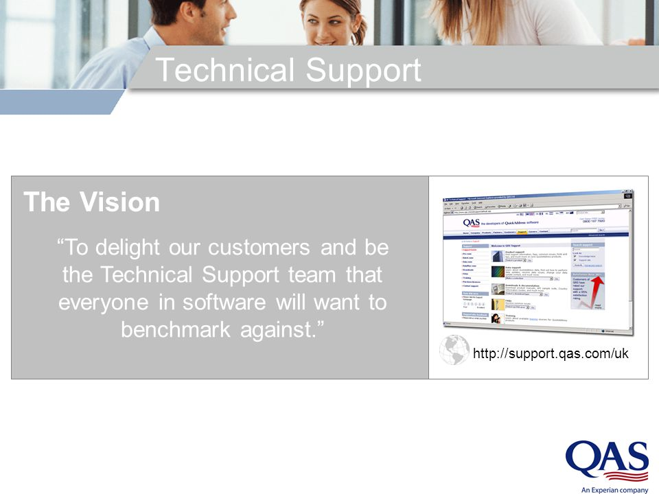 http://support.qas.com/uk To delight our customers and be the Technical Support team that everyone in software will want to benchmark against. Technical Support The Vision