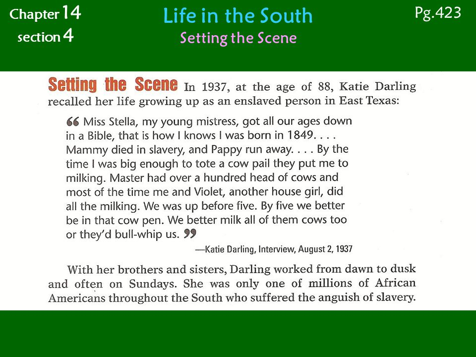 Life in the South African American Southerners Free African Americans Chapter 14 section 4 Pg.423