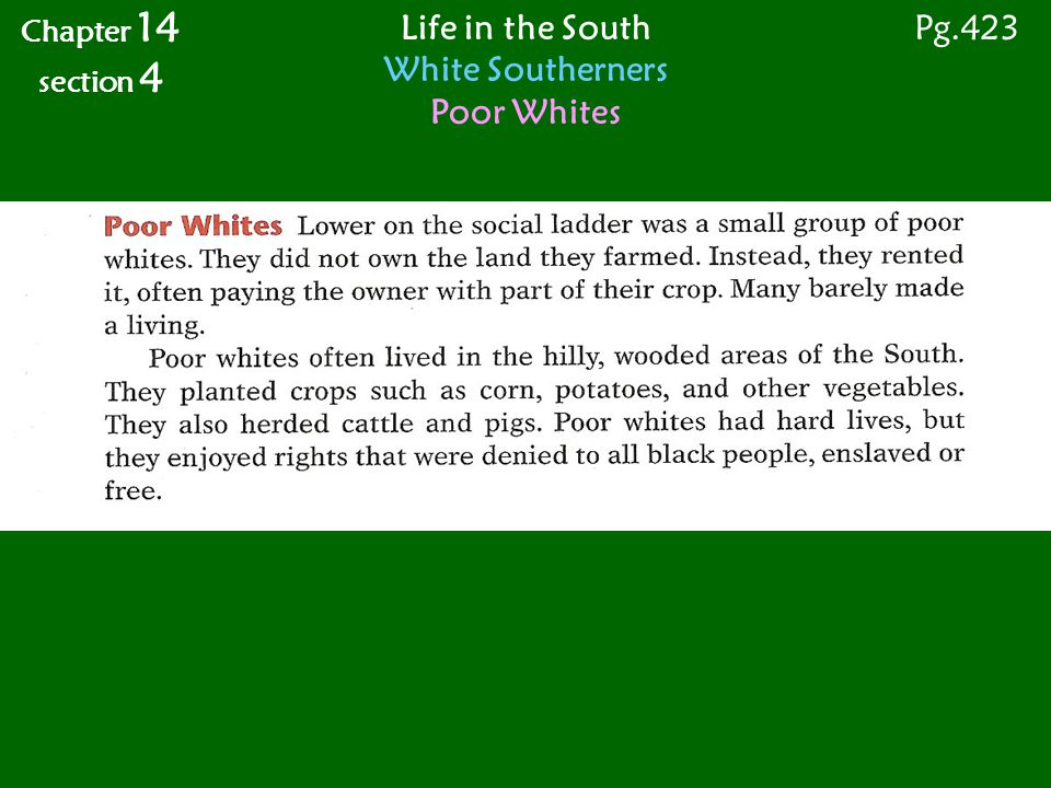 Chapter 14 section 4 Life in the South White Southerners Poor Whites Pg.423